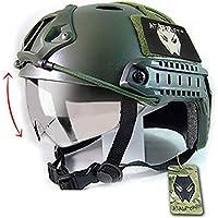 Worldshopping4U Casco rápido táctico de Paintball del ejército Militar Tipo PJ con Gafas OD Verde