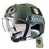 SWAT style militaire de l'armée combat PJ Casque rapide w / Lunettes de protection OD vert pour CQB Tir Airsoft