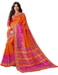 EthnicJunction Synthetic Saree with Blouse Piece (61-2107_Tribal Beige Black_Free Size)