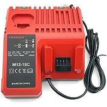 jqspower Multi cargador de para Milwaukee M12–18C para Milwaukee 12V 14,4V 18V Li-Ion batería M1848–59–1812, 48–59–1807, 48–59–1806, 48–59–1840, 2710–20M1248–11–2401,48–11–244M12B24932430064M12B448–11–2401, 48–11–2402, C12B, C12BX, M12batería para herramientas