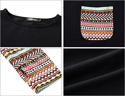 Yidarton Tee Shirt Femme a Manches Longues Col Rond Casual Top Blouse Haut (2 styles différents) 2-Noir