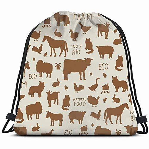FLOOUY Farm Animals Silhouette Pattern Wildlife cat Gym Sack Bag Drawstring Sport Beach Travel Outdoor Backpack for Women 17X14 Inch -