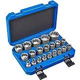 TecTake Juego de llaves tubulares dentados exterior / interior 1/2' | Acero al cromo-vanadio | Maletín consistente incluido -varias cantidades- (Tipo 2 | 21 pz. | No. 402695)