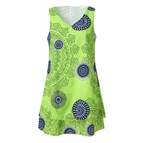 ize Print Midi Kleid Lose Shift Sleeveless Tank Weste Sun Dress (Small, Grün) ()