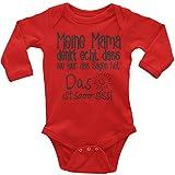 Mikalino Babybody Langarm Meine Mama Denkt Echt, Dass Sie Hier Das Sagen Hat, Farbe:Rot, Grösse:62