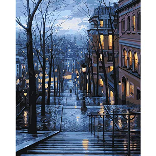 FULLLUCKY Nachtszenen In Der Stadt Beleuchtung Treppen Winter Landschaft Leinwand Kunst Bild Acryl Färbung Nach Zahlen Home Decoration