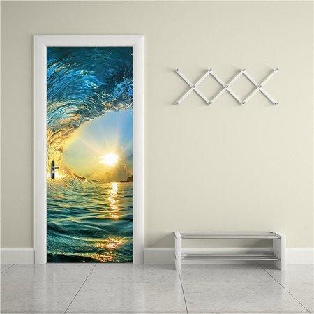 JMHWALL 2 pcs/set Herausnehmbare DIY 3D Wall Sticker Creative PVC Material Wasserdicht Tür Aufkleber für Wohnzimmer Poster Home Decor 200 * 77 cm, B