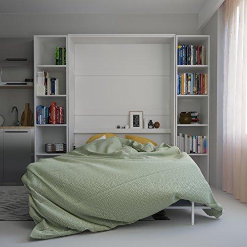 SMARTBett Basic 140×200 Vertikal Weiss Schrankbett | ausklappbares Wandbett, ideal geeignet als Wandklappbett fürs Gästezimmer, Büro, Wohnzimmer, Schlafzimmer - 3