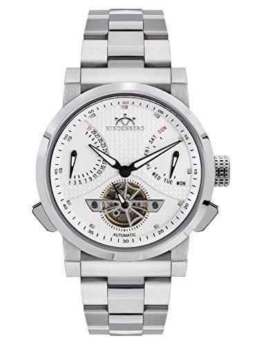 Hindenberg 390-H Convertor Stahl silber mit Edelstahlarmband Herren Automatik Armbanduhr
