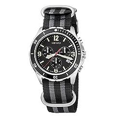Idea Regalo - M WATCH Swiss Made Aqua Steel orologio da uomo, Indicazione della data e lunetta, Lancette luminose, Cinturino in nylon a righe nere grigie