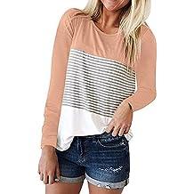 MRULIC Frauen Kurzarm Dreifach Farbe Block Streifen T-Shirt Casual Bluse  Damen Shirt Weisse Bluse 40b64b9fa1