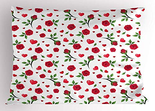 Ytavv Roses Pillow Sham, Cute Valentine's Day Themed Composition with Roses and Big Little Hearts, Decorative Standard Queen Size Printed Pillowcase, 30 X 20 inches, Dark Coral Green White Cathay Rose