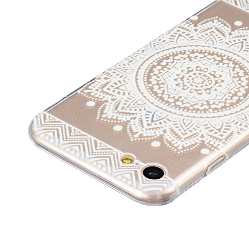 SainCat Custodia per Apple iPhone 7 Cover,Ultra Slim trasparente TPU Crystal Clear Morbido Copertura Case Cover per iPhone 7,Disegni Lusso Vans Belle Creative Marvel Fantasia Campanula Puro Trasparent Bianco-piatto fiore
