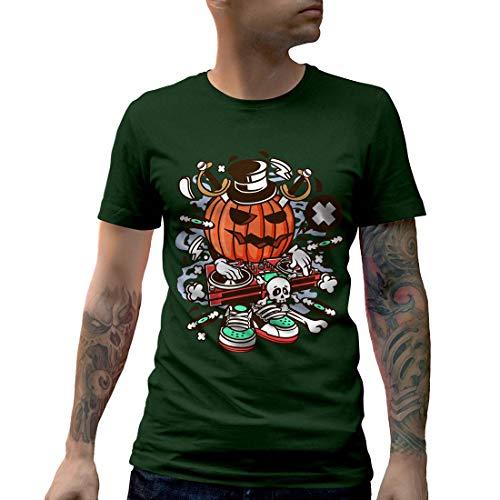 C089MCNTFG Herren T-Shirt DJ Halloween Music Disco Club Food Retro Party Funny Stereo Disc Jokey Mono Jack Classic(XX-Large,Forest Green)