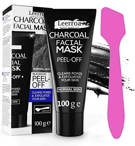 Leerroa® ORIGINAL Black Mask 100ml XXL + Maskenpinsel - Schwarze Abziehmaske mit Aktivkohle gegen Mitesser - Für eine porentiefe Reinigung - Für Frauen und Männer