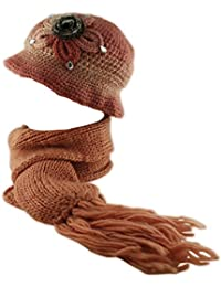Women's Ladies Knitted Waffle Flower Hat and Neck Scarf Pearl 2 Piece Set in Multiple Colours!
