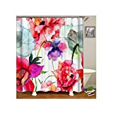 AnazoZ Duschvorhang Anti-Schimmel, Wasserdicht Vorhang an Badewanne Antibakteriell, Bad Vorhang für Dusche 3D Multicolor Blumen, 100% PEVA, inkl. 12 Duschvorhangringen 150 x 200 cm