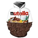 Shukqueen Unisex 3D Food Stampato della Tasca Coulisse Felpa con Cappuccio Nutella Small/Medium