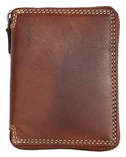 Cartera marrón Zip-Alrededor de Cuero Genuino Naturales de Calidad