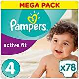Pampers - Active Fit - Couches Taille 4 (8-16 kg/Maxi) - Mega Pack (x78 couches)