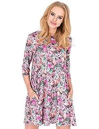 elomoda Kleid elegant Mini-Kleid Blumen Muster Top Gr. 36 38 40 S M L, M194