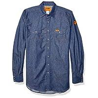 قميص Wrangler Riggs Workwear رجالي كبير وطويل مقاوم للاشتعال ذو جيب غربي ازرق دينيم X-Large