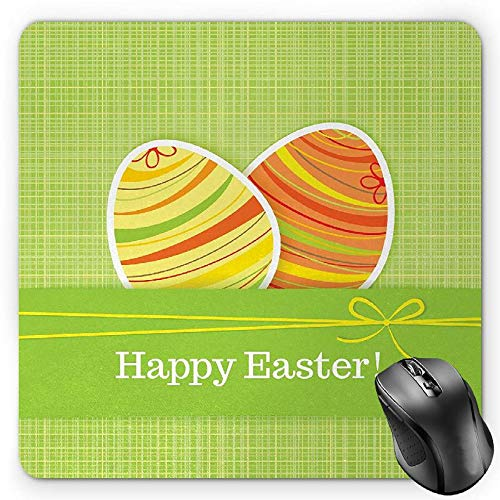 ds Mouse Pad, Colorful Eggs with Stripes on a Green Checkered Squares Background Festive Banner, Standard Size Rectangle Non-Slip Rubber Mousepad, Multicolor ()