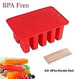 ToWinle Stieleisformen Eis am Stiel Formen BPA Frei Silikon Wassereis Formen für Kinder und Erwachsene mit 10x Holzstielen und Deckel