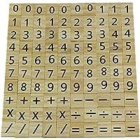 Madera Scrabble Número de Madera y Reemplazo de Piezas de Símbolo 100 Azulejos Juguetes Artesanías y Educación Infantil de Preescolar Decoración de la Boda
