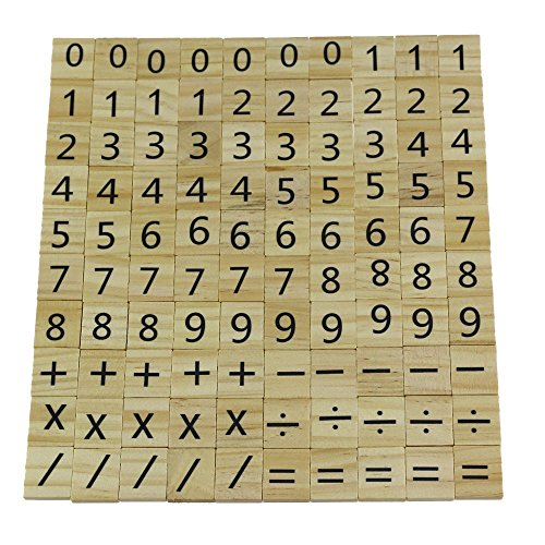 Log-Cabin Wooden Scrabble Wood Number and Symbol Piece Replacement 100 Tiles Toys Crafts and Pre-school Kids Education Wedding Decor