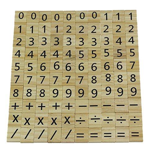 Madera Scrabble Número de Madera y Reemplazo de Piezas de Símbolo 100...