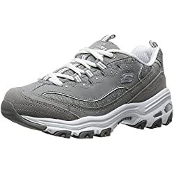 Skechers Sport Women's D'lites Me Time Wide Fashion Sneaker, Grey, 8 W US