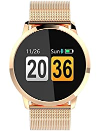 Findtime Unisex Digital Quarz Smartwatch Fitness Tracker Edelstahl Armband Herzfrequenz Bluetooth Blutdruck IP67 Wasserdicht Rosegold