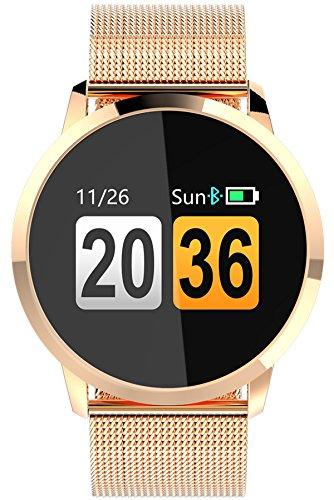 Findtime Unisex Digital Quarz Smartwatch Fitness Tracker Edelstahl Armband Herzfrequenz - Wetter-klappe