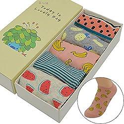 LILIKI@ 5 Par/Set Lindo Algodón De Dibujos Animados De Moda Fruit Sandía/Piña / Banana Mujeres Calcetines Invisibles De Tobillo Corto con Caja De Regalo
