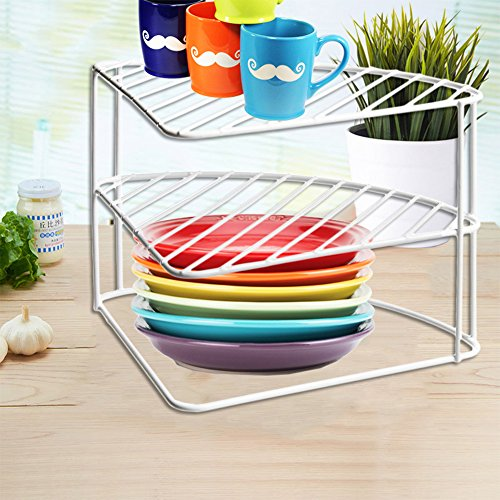 FunkyBuys® 3 Tier White Steel Corner Kitchen Plates Rack Tidy Cupboard Organizer Storage Space Saver Shelf Dryer- 23x34x25 cm-(SI-K1036)