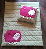 Krabbeldecke / Kuscheldecke mit Kissen ca.1 x 0,75m 'pinkes Schaf auf der Wiese'