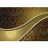 Vlies Fototapete PREMIUM PLUS Wand Foto Tapete Wand Bild Vliestapete - Ornamente Seil Barock Gold Edel - no. 276, Größe:400x280cm Vlies
