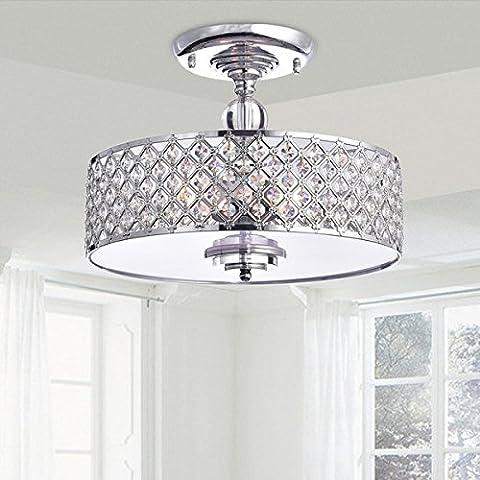 Saint Mossi Modern Crystal Raindrop Chandelier Lighting Flush mount LED Ceiling Light Fixture Pendant Lamp for Dining Room Bathroom Bedroom Livingroom Height 28cm x Width 39cm