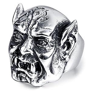 mendino Herren World of Warcraft Horde Orc Kopf Ring Edelstahl verschiedene Größen erhältlich mit Samt Geschenkbeutel
