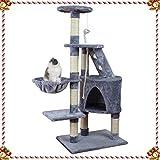 KExing Albero dei gatti Tiragraffi Albero Rampicante Sisal Felpa con Amaca e Corda Medio Altezza 120 cm Grigio
