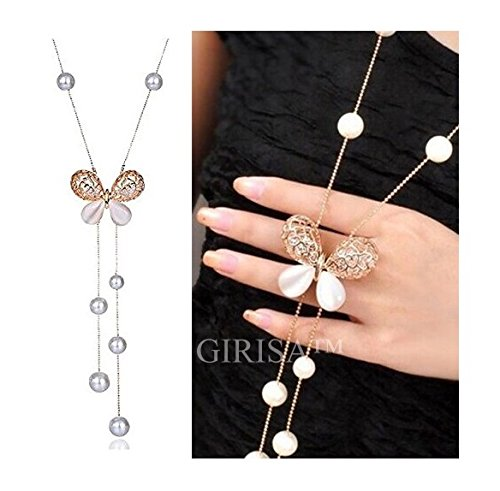GIRISA Fashion Jewelry Stylish Pendants for Girls with Long Chain Butterfly Pendent Party Western Wear Necklace For Women & Girls (Gold)
