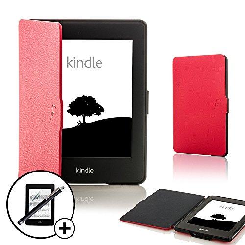 Forefront Cases Amazon Kindle Paperwhite (Nur für 2012, 2013, 2015, 2016 Modell) Smart Hülle Tasche Case Cover - Dünn Leicht Rundum-Geräteschutz Auto Schlaf Wach + Stift & Displayschutz (ROT)