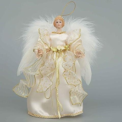 Cosette 25,4cm réaliste Ange en porcelaine poupée Décoration pour sapin de Noël Decor Décoration Robe ailes, Porcelaine, doré, 10''