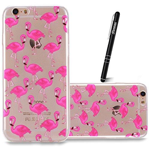 Coque iPhone 6S Plus TPU Bumper Cover,Coque iPhone 6 Plus Case Transparent Slim,Slynmax Cristal Clair Ultra Mince Légère Etui Mode Coloré Motif avec Animal et Fille Couverture Antichoc Anti Scratch So Flamingos