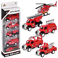 Pull Back and Go Fire Engine Truck Friction Mini Vehicles Car Toy for 3 year old, 5pcs Set