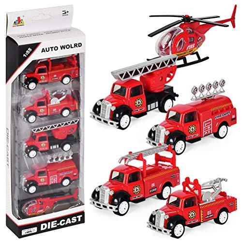 DESONG Mini Feuerwehrauto Pull-Back Fahrzeuge Spielzeugautos Modelle für Kinder ab 3 Jahren - 5 Autos in einem Set