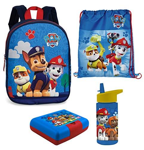 Familando Paw Patrol Rucksack-Set 4tlg. mit Brotdose, Trinkflasche und Turnbeutel für Kinder-Garten / Krippe blau (Brot-taschen Aus Kunststoff)