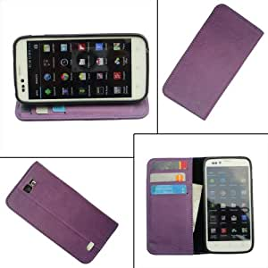 i-KitPit - PU Leather Wallet Flip Case Cover For Sony Xperia Z (PURPLE)