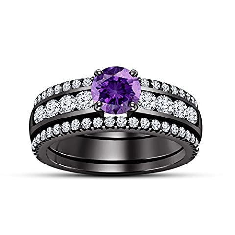 Lilu jewels 3 Piece Purple Amethyst Round Cut Ladies Bridal Engagement Ring Womens Wedding Band Set 14k Black Rhodium Plated 925 Sterling Silver (O